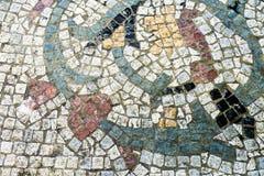 肮脏的石马赛克地板 免版税库存照片