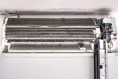 肮脏的空调器吹风机爱好者和卷 免版税库存照片