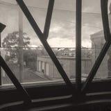 肮脏的窗口安全禁止duotone 免版税库存照片