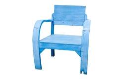 肮脏的老木蓝色椅子 库存图片