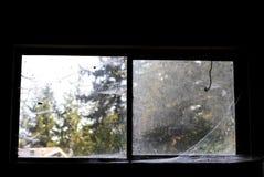 肮脏的老被忽略的蜘蛛网包括看对森林的窗口 库存照片