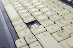 肮脏的膝上型计算机键盘特写镜头  免版税库存图片