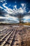 肮脏的路细节有许多水坑的在晴朗的秋天天 库存图片