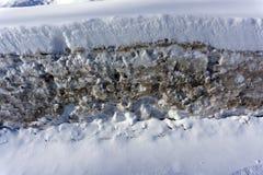 肮脏的雪纹理,解冻的雪 免版税库存照片