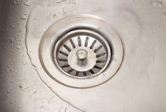 肮脏的水槽洗碗机流失 免版税库存图片