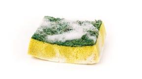 肮脏的洗碗盘行为海绵 库存照片