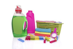 肮脏的洗衣店和洗衣粉 免版税库存照片