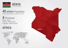 肯尼亚与映象点金刚石纹理的世界地图 免版税库存图片