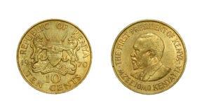 肯尼亚共和国的硬币有第一位总统的图象的 免版税库存照片