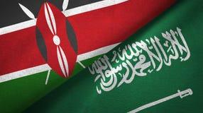 肯尼亚和沙特阿拉伯旗子纺织品布料 皇族释放例证