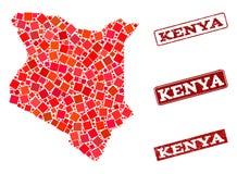 肯尼亚和被抓的学校邮票构成军用镶嵌地图  向量例证