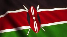 肯尼亚旗子动画录影- 4K 库存例证
