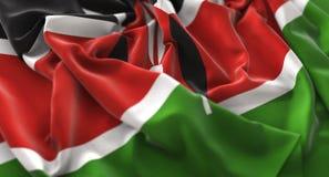 肯尼亚旗子被翻动的美妙地挥动的宏观特写镜头射击 免版税库存图片