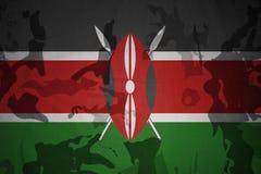 肯尼亚的旗子卡其色的纹理的 装甲攻击机体关闭概念标志绿色m4a1军用步枪s射击了数据条工作室作战u 库存图片