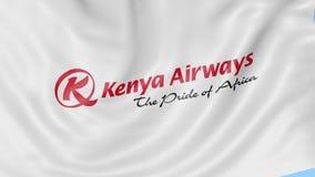 肯尼亚航空公司挥动的旗子反对蓝天背景,无缝的圈的 社论4K动画 影视素材