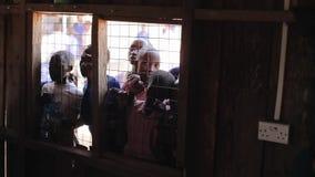 肯尼亚,基苏木- 2017年5月20日:小组非洲孩子凝视入房子通过在窗口的格子 股票视频