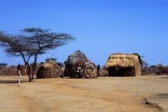 肯尼亚turkana村庄 免版税库存照片