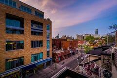 肯辛顿市场日落视图,在多伦多,安大略 免版税库存图片