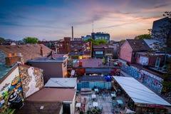 肯辛顿市场日落视图,在多伦多,安大略 库存图片