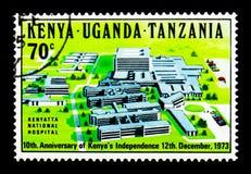 肯雅塔全国医院,肯尼亚\ 's Independ第10周年  免版税库存照片