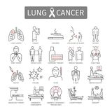 肺癌 症状,原因,治疗 线被设置的象 传染媒介标志 向量例证