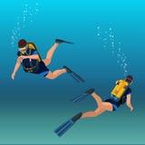 水肺diverflat等量例证水下的人潜水者 免版税库存照片