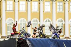 肾上腺素仓促FMX车手Moto在宫殿Squ的自由式展示 免版税库存照片