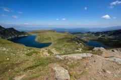 肾脏、孪生和Trefoil湖,七个Rila湖, Rila山 库存照片