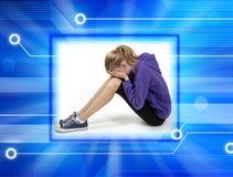 胁迫的儿童计算机cyber 图库摄影