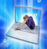 胁迫的计算机cyber互联网 库存照片