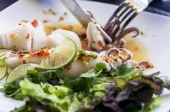 胃口在泰国样式章鱼的开胃菜沙拉 库存照片