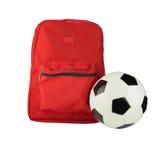 背包和足球 免版税库存照片