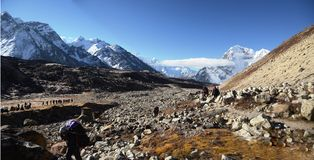 背包徒步旅行者喜马拉雅山 库存图片