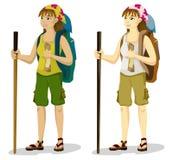 背包徒步旅行者女孩 免版税图库摄影