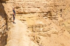背包徒步旅行者旅游常设山峭壁土坎边缘风景 免版税图库摄影