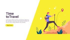 背包徒步旅行者旅行冒险概念 在自然题材的室外假期休闲远足,上升和迁徙与人 库存例证
