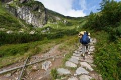 背包徒步旅行者测试的女孩山 免版税图库摄影