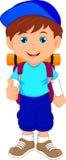 背包徒步旅行者男孩赞许 向量例证