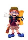 背包旅行家-例证-有裁减路线的 免版税库存照片