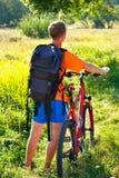 背包自行车骑自行车者人 库存照片