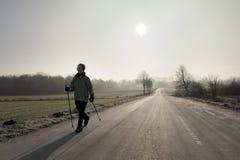 背后照明北欧人走 库存照片