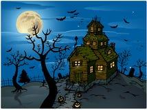 背景万圣节被困扰的房子 向量例证