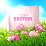 背景上色了复活节彩蛋eps8格式红色郁金香向量 免版税图库摄影