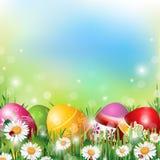 背景上色了复活节彩蛋eps8格式红色郁金香向量 库存例证