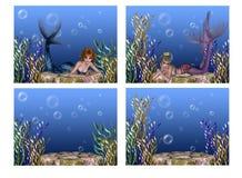 背景下美人鱼海运 免版税图库摄影