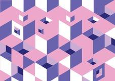 背景纹理求桃红色,紫色的立方,白色 库存图片