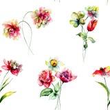 背景不尽的花纹花样无缝的春天瓦片 免版税库存照片