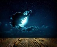背景与星的夜空, 免版税库存照片