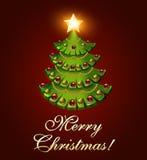 背景与树和一个灼烧的星的明信片圣诞节 免版税库存照片