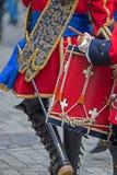 背景中世纪战士,鼓手 免版税库存照片